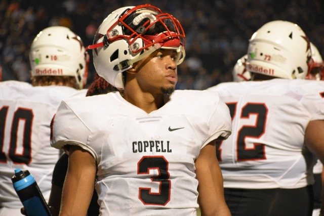 Coppell High School junior Jonathan McGill runs downfield to later score a touchdown during Sept. 1 game at Pennington Field. McGill has five total offers including one from Stanford.