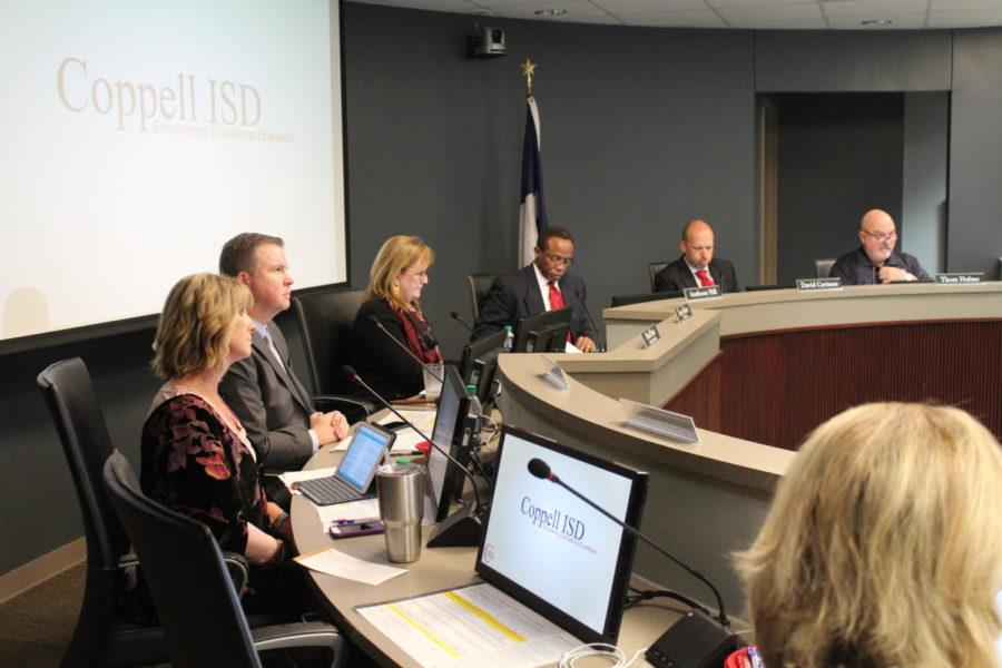 CISD School Board Superintendent Brad Hunt and President Tracey Fisher listen to speakers give their presentations. The Board of Trustees of Coppell Independent School District meeting was held Oct. 23rd to discuss matters of the district.