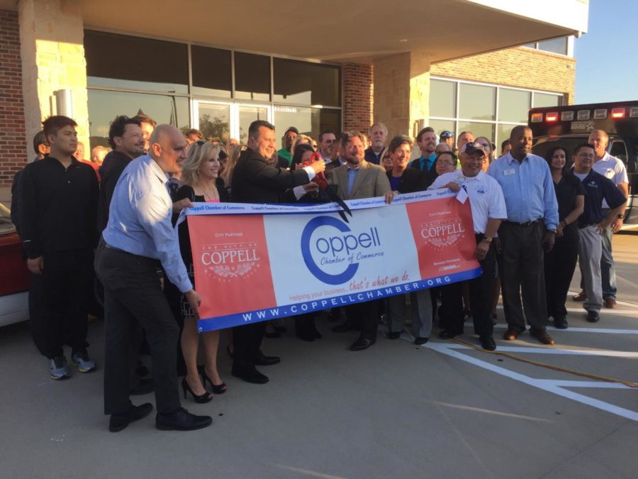 The ribbon cutting ceremony at the grand opening of the Coppell ER included Coppell Mayor Karen Hunt, the staff of the Coppell ER and people from the community. The grand opening was on Thursday.