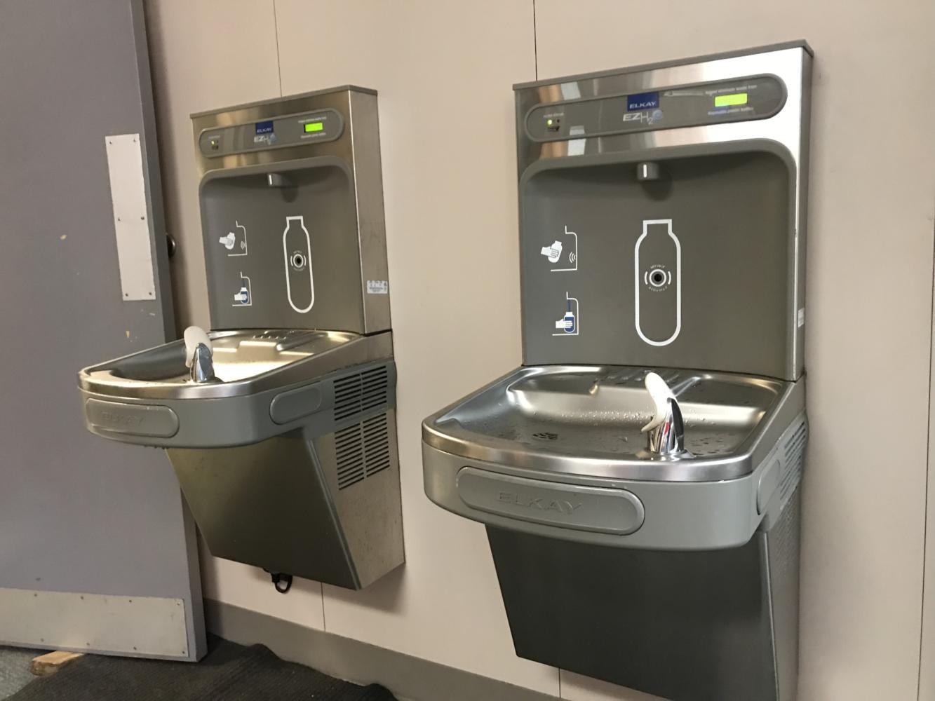 Water fountains at Pinkerton Elementary in Coppell resemble those that are planned for Coppell High School. They allow students to fill their own water bottles and see how many plastic bottles they have saved.