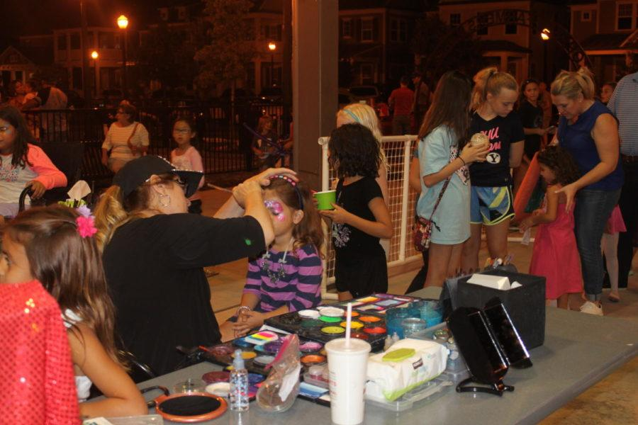 Last saturday, Sept. 30, the annual Food Truck Frenzy was held at The Square at Old Town, 768 W. Main Street from 5-9 p.m. Kids of all ages gather in the shed to get their face painted with their favorite animal or superhero.