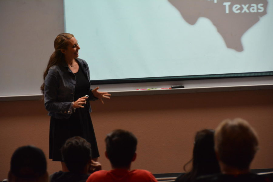 Former forensic scientist for the EDA and Coppell resident Tamara Keller conducts a presentation on drugs in the Coppell High School lecture hall on Oct. 26. Keller informs Coppell parents and students on the dangers of drug use and the preventative measures they can take to protect their students.