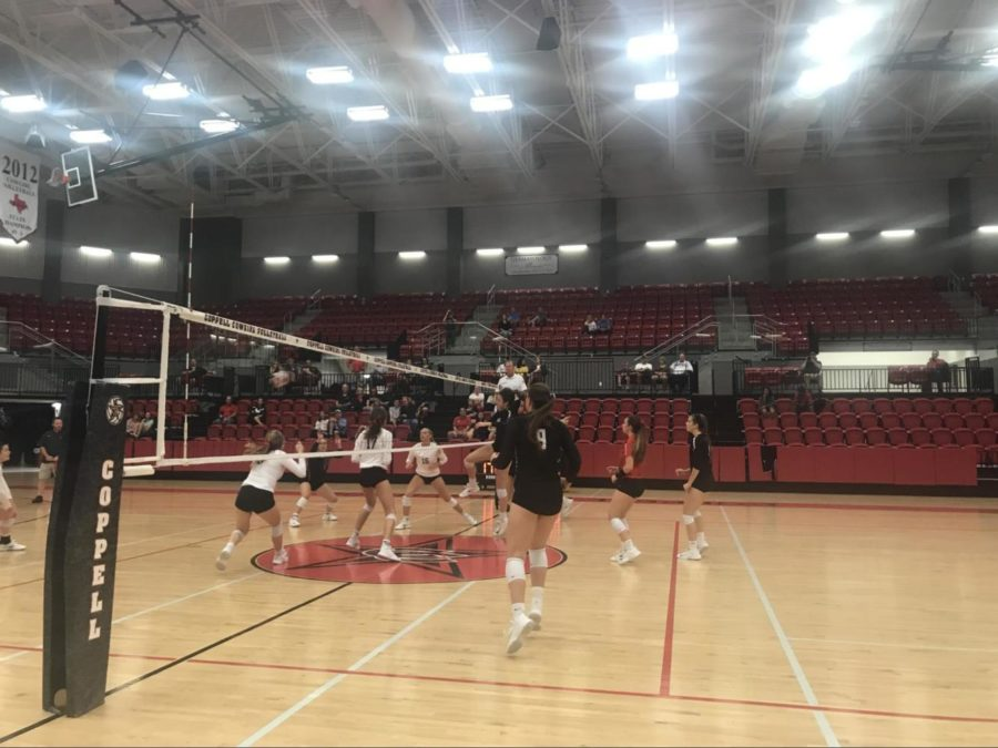 The Cowgirls volleyball team plays their homecoming game against Lake Highlands on Friday night in the arena. The Cowgirls won all three sets 25-23, 25-19, 25-21.