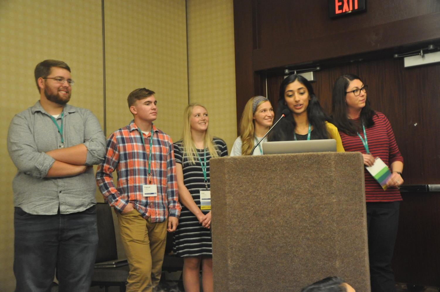Pittsburg (Kan.) High School seniors Connor Balthazor, Patrick Sullivan, Kali Poenitske, Maddie Baden, Gina Mathew and and their adviser Emily Smith talk about the Booster Redux's investigative adventure uncovering discrepancies in their principal's resume leading to her resignation they had in March 2017. They led a session on Friday at the JEA/NSPA Fall High School Journalism Convention at the Hyatt Regency in Dallas, which is being attended by Sidekick newspaper, KCBY-TV and Round-Up yearbook staff members.