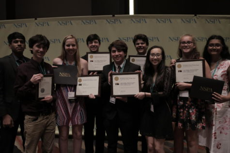 The last day of the 2017 JEA/NSPA Fall National High School Journalism Convention at the Hyatt Regency in Dallas provided recognition to both KCBY-TV and Round-Up yearbook. KCBY-TV received an NSPA Broadcast Pacemaker Award and two NSPA individual awards, and Round-Up yearbook placed ninth in the convention's Best of Show contest.