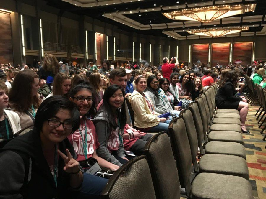 The Sidekick staff members attend the 2017 JEA/NSPA Fall National High School Journalism Convention's opening ceremony at the Hyatt Regency Dallas on Nov. 16. Among nearly 5,000 other high school journalists, students are learning about how to become better journalists through various sessions led by professionals and educators in various fields at the convention.