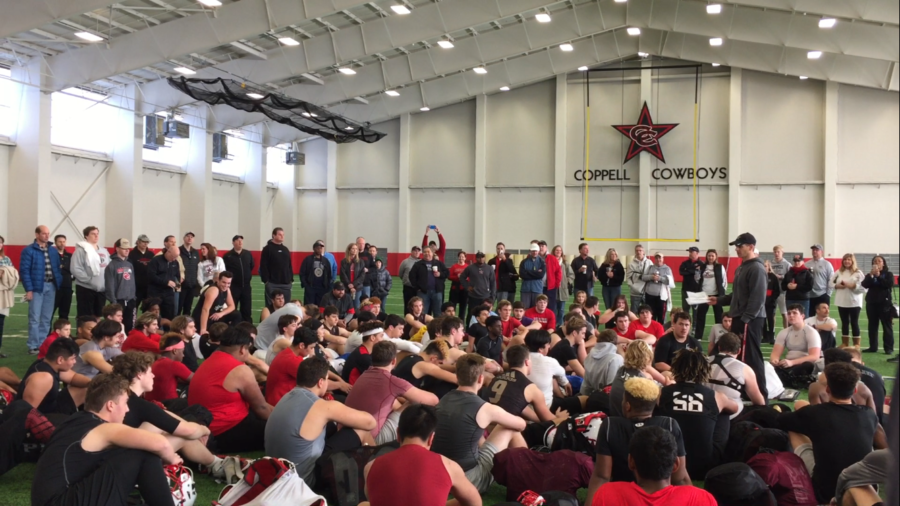 The+Cowboys+take+turns+thanking+friends%2C+family%2C+coaches+and+teammates%2C+who+were+all+invited+to+practice+on+Thursday+in+the+field+house+for+the+support+they+have+received+from+them+throughout+the+year.+The+team+takes+on+the+Mesquite+Horn+Jaguars+tomorrow+at+Allen+Eagle+Stadium+at+1+p.m.+in+the+Class+6A+Division+I+area+playoffs.%0A