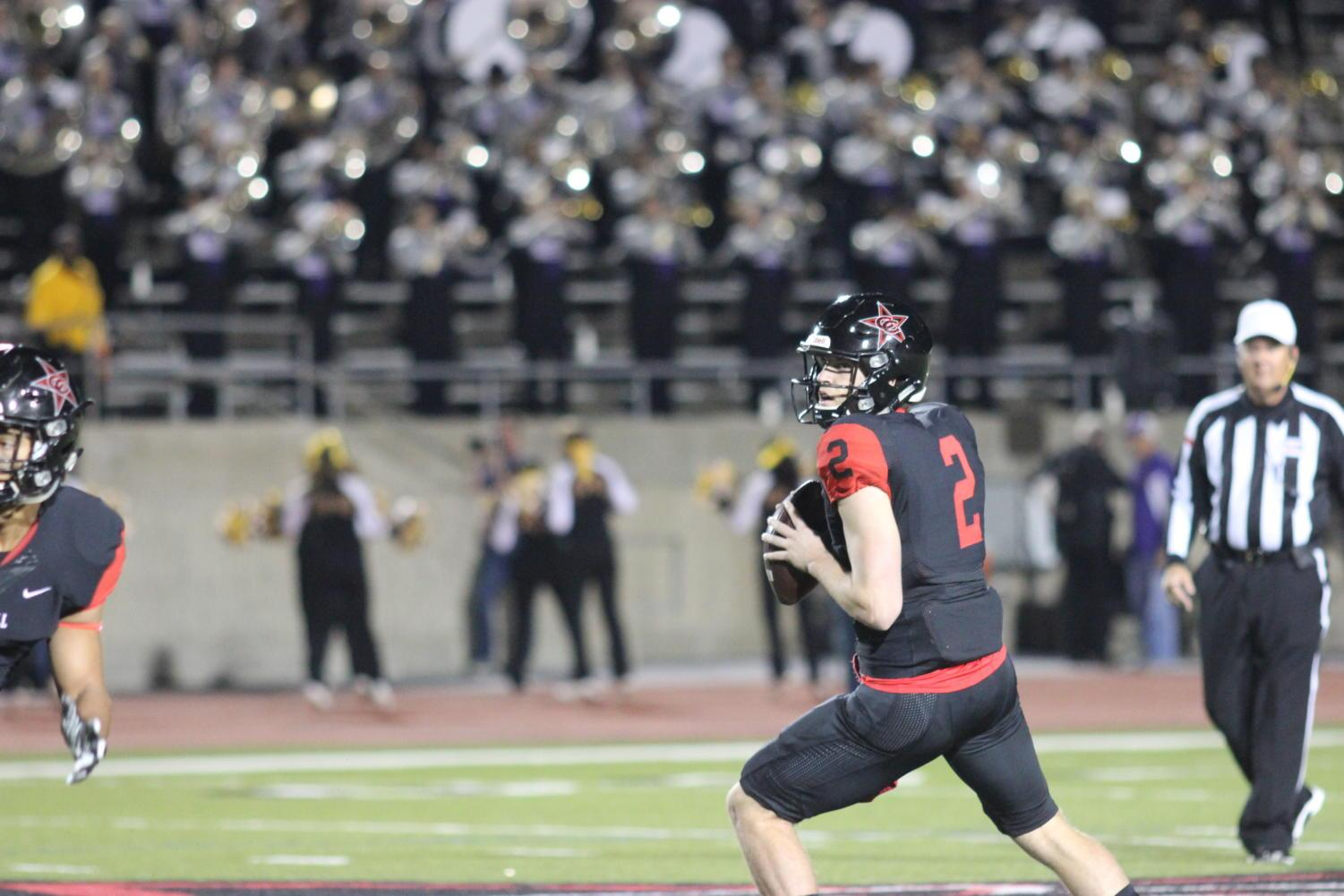 Coppell+Cowboys+senior+quarterback+Brady+McBride+gets+ready+to+pass+during+the+first+quarter+on+Nov.+10+at+Buddy+Echols+Field.+The+Coppell+Cowboys+defeated+the+Richardson+Eagles%2C+49-14.+