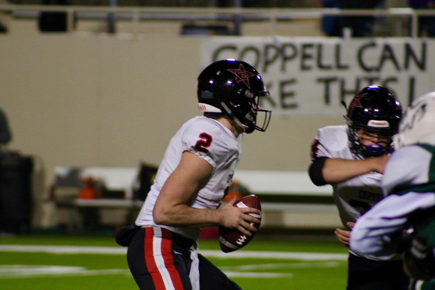 Coppell Cowboys senior quarterback Brady McBride looks for an open receiver to pass to during the second quarter of the game on Oct. 27 at the Ram-Wildcat Stadium in Richardson during a 59-20 victory. The Cowboys travel to Dallas to play Skyline on Friday night at Forester Field.