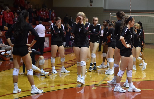 The+Cowgirl+volleyball+team+fell+to+College+Park+during+the+regional+semifinal+at+Navarro+College+last+night.+Coppell+won+the+first+set++25-17%2C+and+College+Park+won+the+next+three+sets+25-24%2C+25-22%2C+25-17+to+end+Coppell%E2%80%99s+season.+