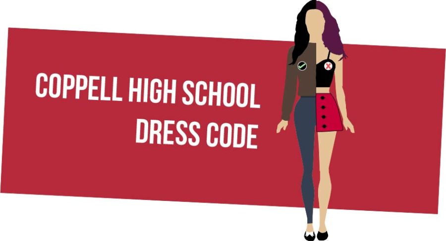 Half+of+this+girl+is+dressed+according+to+the+Coppell+High+School+dress+code%2C+while+the+other+half+is+dressed+against+it.+The+dress+code+at+CHS+restricts+revealing+clothing+such+as+crop+tops+and+short+skirts+%28right%29%2C+and+approves+modest+clothing+such+as+full+sleeves+and+long+pants+%28left%29.%0A