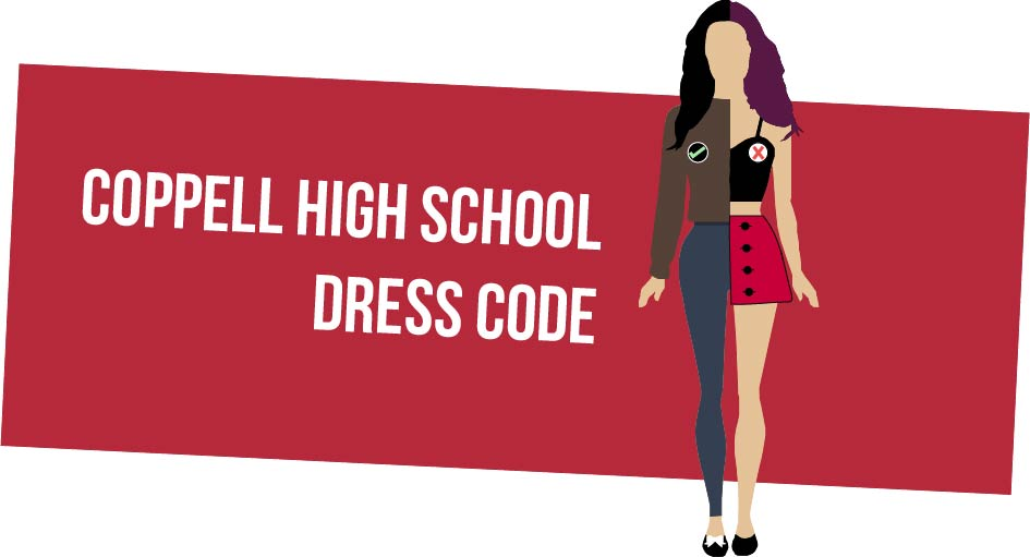 Half of this girl is dressed according to the Coppell High School dress code, while the other half is dressed against it. The dress code at CHS restricts revealing clothing such as crop tops and short skirts (right), and approves modest clothing such as full sleeves and long pants (left).