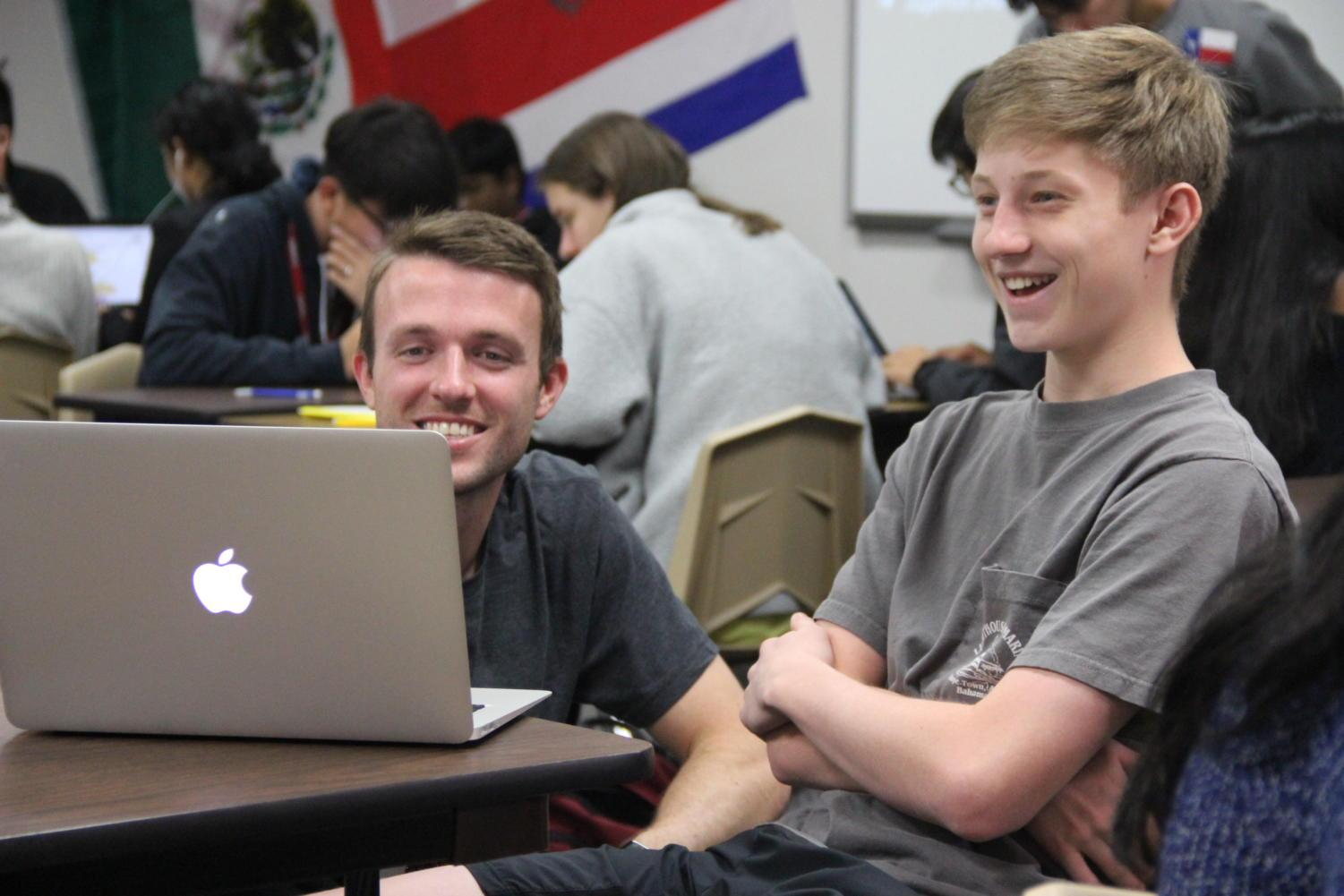 Honors II/III Spanish teacher Trent Pickrell connects with students in his classroom C121. Pickrell is The Sidekick's December teacher of the issue, nominated for  his engagement he has with his students.