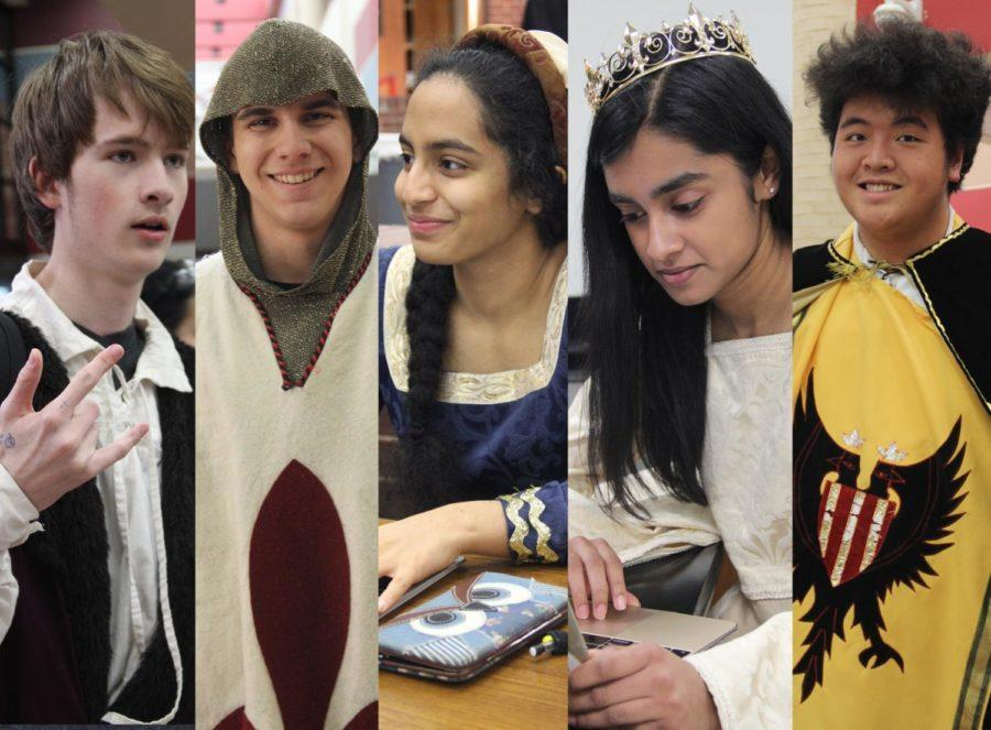 CHS+choir+students+senior+Pryce+Wensel%2C+senior+Rukmini+Waranashiwar%2C+juniorJacob+Barnez%2C+senior+Riya+Mahesh+and+sophomore+Max+Madlambayan+dress+up+to+school+before+their+Madrigal+Feast+tonight.+They+will+perform+today+and+tomorrow+night+in+the+Coppell+High+School+commons+at+7+p.m.