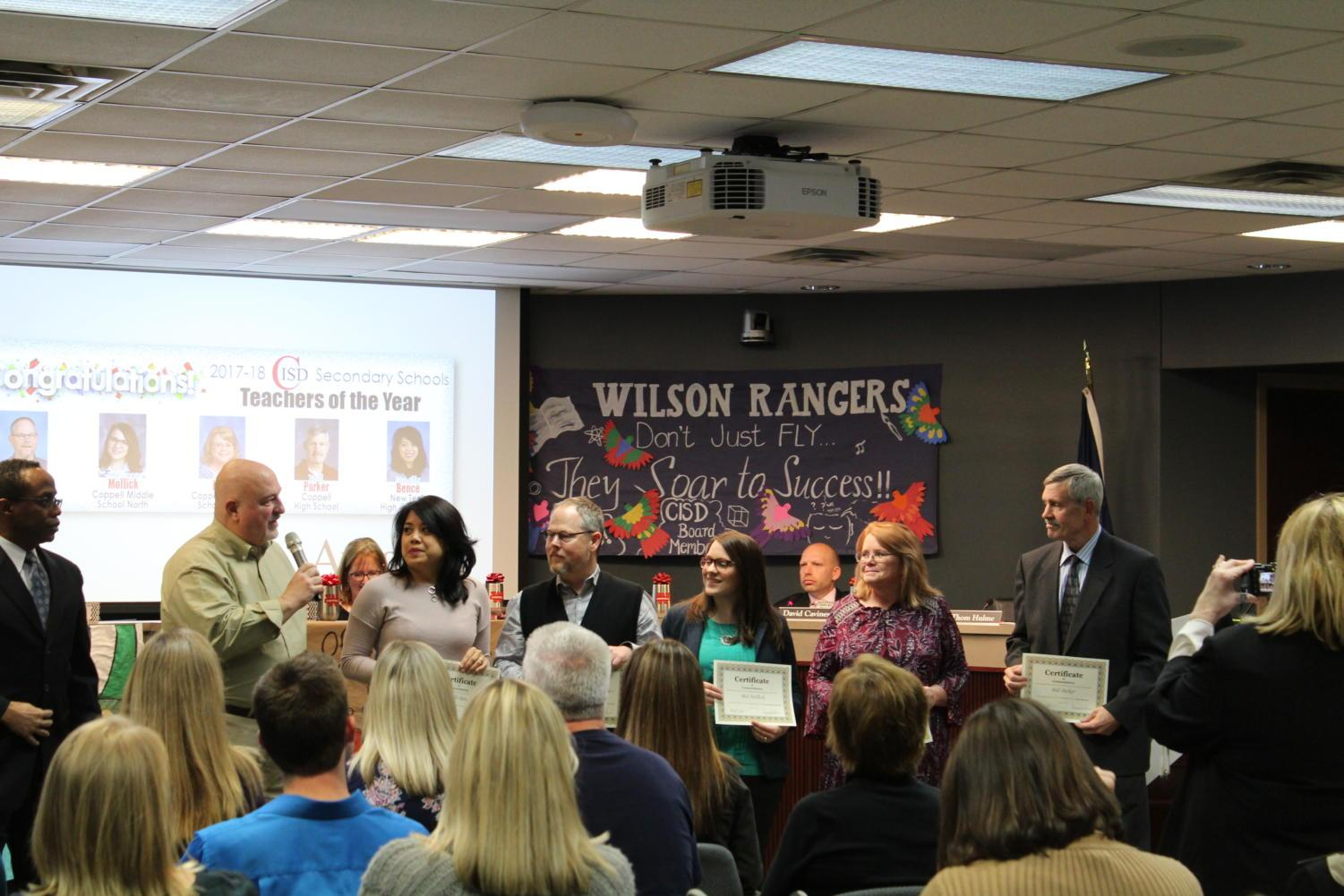 Coppell ISD honors teachers of the year from all secondary schools in the district in light of the January recognition month, Monday night in the Vonita White Administration Building. The district recognizes these teachers for their excellence in the teaching that they exhibit in school every day as they strive to improve their students knowledge and learning.