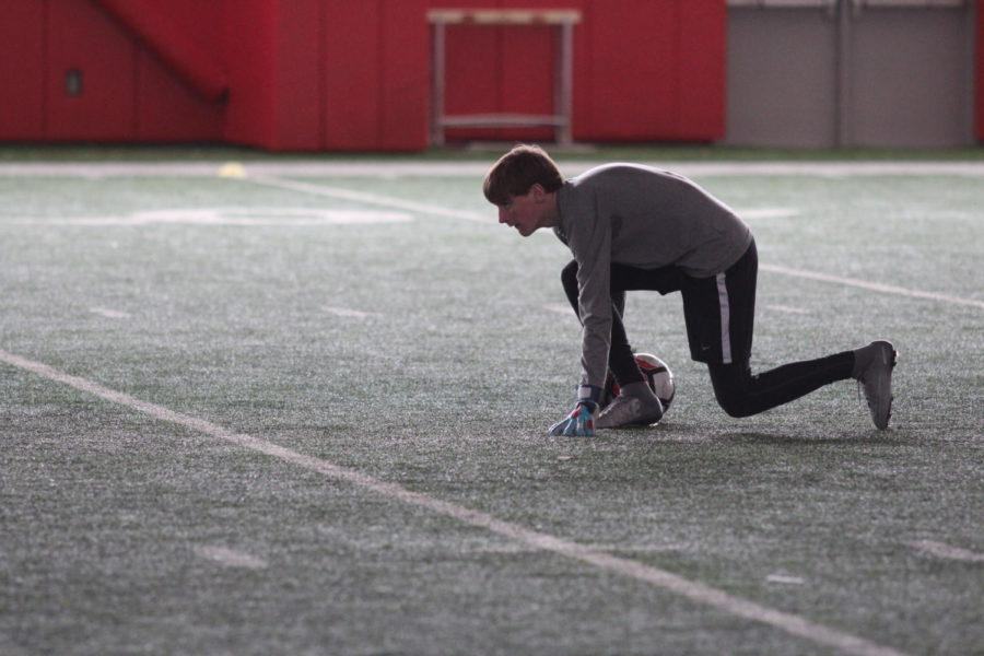 Coppell High School sophomore Kyler Hernandez plays goalkeeper in practice during third period on Jan. 18. The boys junior varsity soccer team practices for their upcoming game against McKinney Boyd High School on Feb. 6.