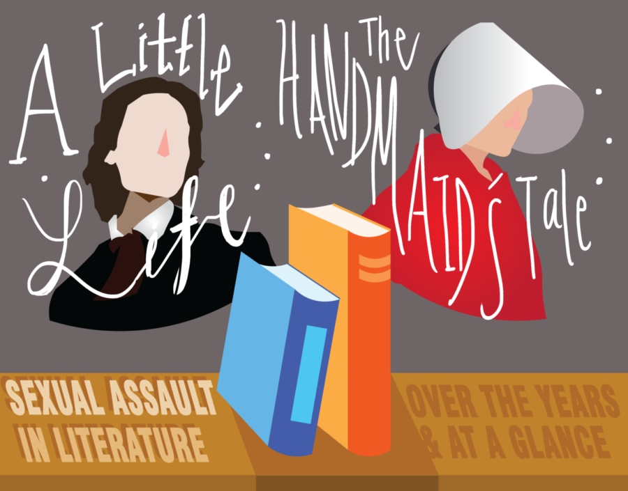 Acclaimed+novels+A+Little+Life+by+Hanya+Yanagihara+and+The+Handmaid%E2%80%99s+Tale+by+Margaret+Atwood+depict+instances+of+sexual+assault.+Literary+authors+have+made+progress+in+representing+these+issues+in+spite+of+social+taboos.+Graphic+by+Kelly+Wei.