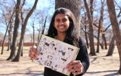 The Sidekick staff writer Pramika Kadari, displaying her manga book, Death Note by Tsugumi Ohba, thinks all forms of storytelling should be equally respected. In addition to graphic novels, Kadari thinks spending time watching television programing is a part of storytelling and beneficial.