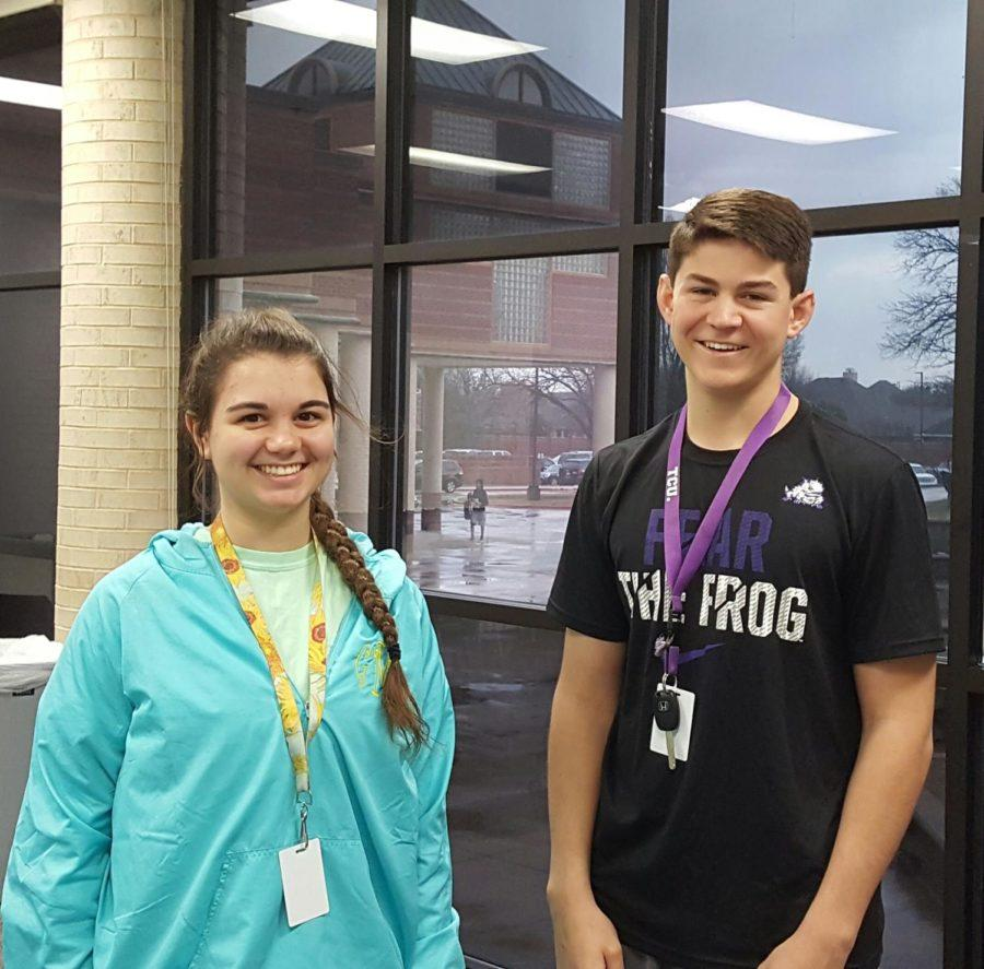 Coppell High School senior Red Jackets Carson Maher and Gabby Mungo do a Red Jacket Q&A today during all lunches. Juniors were able to attend this metting to ask questions about the oppotunity they were given this year to be Red Jackets and what they liked the best about this privilege.