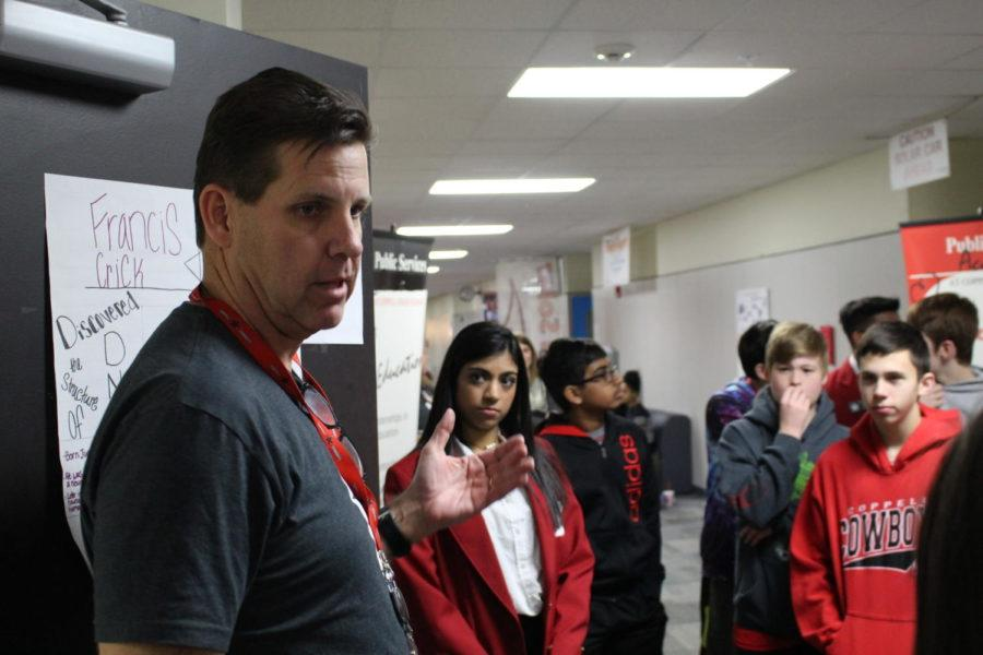 Coppell Middle School North students listen to health science teacher, Bill Borowski explain the medical electives. Coppell High School Red Jackets led eighth graders on tours throughout the day and will continue to do so with each middle school until Thursday.