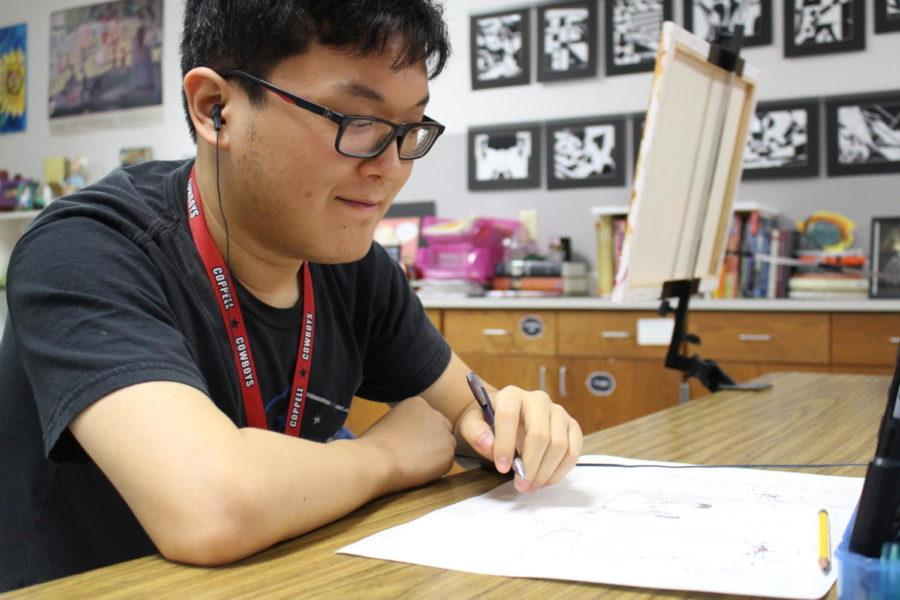 Coppell High School senior Samuel Kim creates a creative art piece in  Elsa Reynolds Art I class during third period on Feb. 16. Reynolds classes are currently working on pieces for the upcoming Visual Arts Scholastic Event competition.