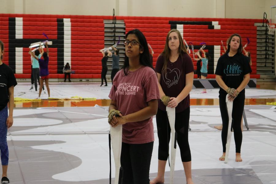 The CHS winter guard performers put on their game face during their practice. Last Saturday, the team earned the second highest score in the nation so far this season.