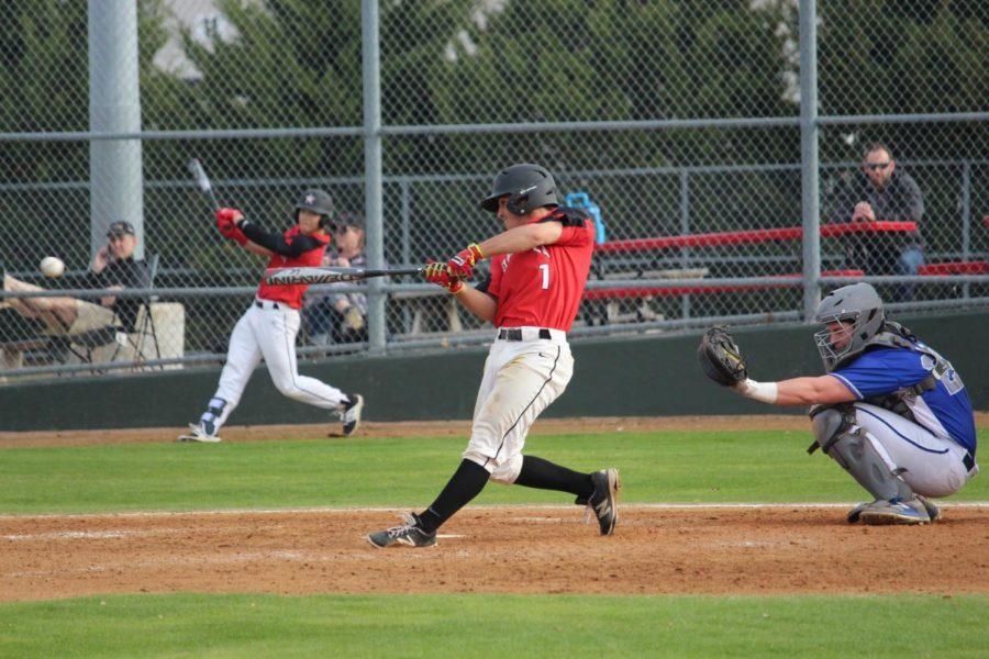 Coppell+High+School+senior+Anthony+Villalobos+swings+at+the+ball+during+second+inning+of+Thursday+night%E2%80%99s+game+at+the+Coppell+ISD+Baseball%2FSoftball+Complex+against+the+Georgetown+Eagles.+Coppell+defeated+the+Eagles+4-3+due+to+time+limit+during+the+7th+inning+for+the+six-game+tournament.