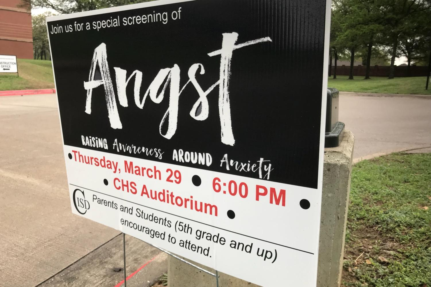 Coppell ISD is screening the documentary  Angst: Raising Awareness Around Anxiety on March 29 from 6 - 7:30 p.m in the Coppell High School auditorium. The film focuses on raising awareness for anxiety and de-stigmatizing the issue.