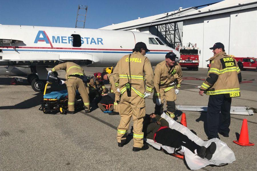 Coppell+Fire+Department+joined+local+emergency+response+teams+from+March+20-22+to+practice+mass+casualty+exercises+in+the+event+of+a+large+scale+disaster.+These+mock+accidents+included+a+plane+crash%2C+crowd+being+struck+by+a+vehicle+and+an+active+shooter.%0A