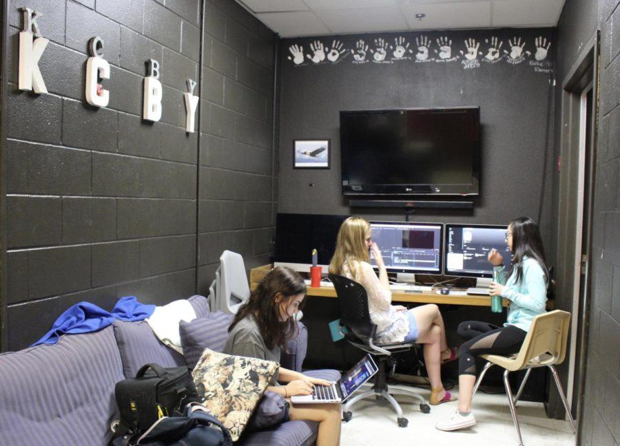 Coppell High School seniors Ashley Miznazi, Rachel Behrndt and Marissa Greene edit KCBYs weekly segment during second period on Thursday. KCBY recently got awarded the Broadcast Excellence Award honors the top Student Television Network student-produced news programs in the nation.