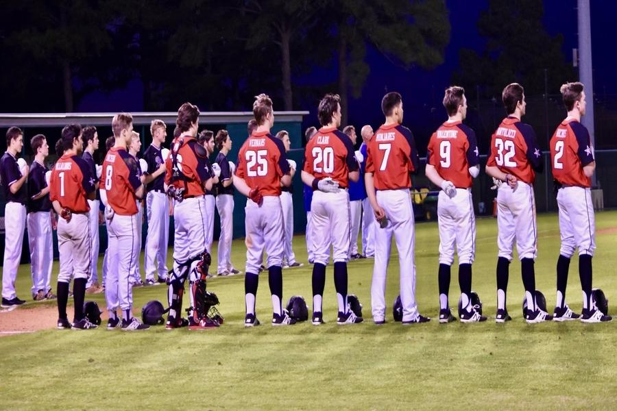 The Coppell boys baseball team and the Montgomery Bears stand for the Pledge of Allegiance during the second game of the Brenham tournament on March 1. The Cowboys will play their third tournament at home and at Prosper starting tomorrow.