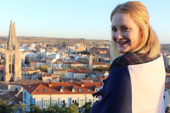 Foreign exchange student and Coppell High School junior, Kyra Holmstrup, overlooks the deep hills and city of Burgos, Spain on the Castle of Burgos, where she has spent the last five months attending school. Holmstrup is attending IES Cardenal Lopez de Mendoza to improve her Spanish and find a new way of learning for a school year through the Rotary Internal exchange program.