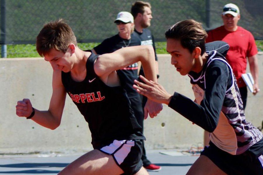 Coppell High School junior Tyler Swell competed in the junior varsity boys 800 meter run in the track meet Saturday at Buddy Echols Field. The Coppell Relays is a meet held annually at Coppell High School.
