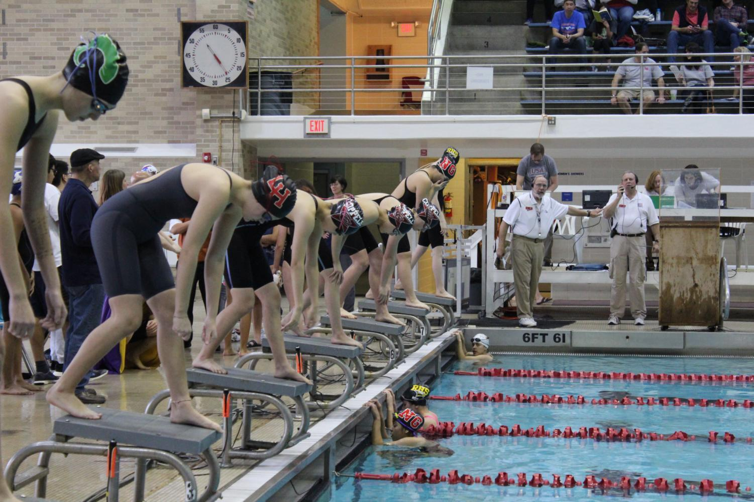 On Friday, Jan. 26, Coppell high school varsity swimmers competed at the districts meet at the Westside Aquatic Center in Lewisville, Texas. The Coppell swim team was able to surpass many previous school and district records and sent one swimmer on to state competition.