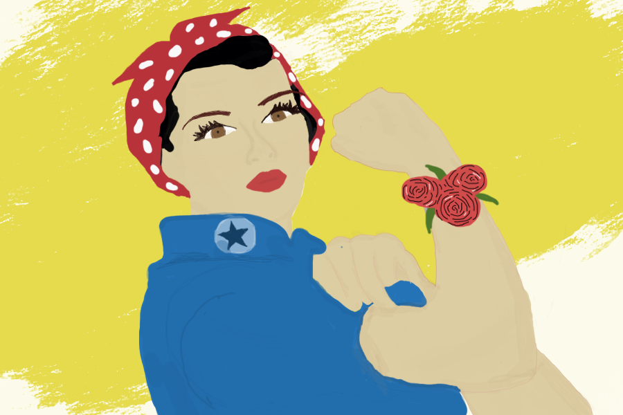 Rosie+the+Riveter+is+a+feminist+icon+dating+to+World+War+II+and+wears+a+corsage+to+symbolize+prom.+Girls+should+take+the+opportunity+to+ask+boys+to+prom+more+often+instead+of+always+waiting+to+be+asked%2C+says+Sidekick+staff+writer+Pramika+Kadari.%0A