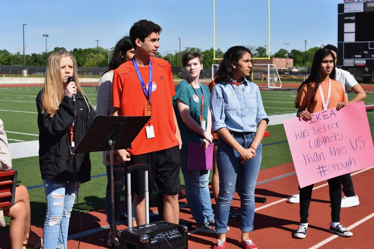 Coppell+High+School+current-junior+Charlotte+Vanyo+speaks+out+in+favor+of+common+sense+common+gun+reform+with+fellow+walkout+organizers+on+April+20%2C+2018.+One+year+later%2C+Reyes+remains+frustrated+in+the+lack+of+progress+in+gun+reform+laws+and+talks.+