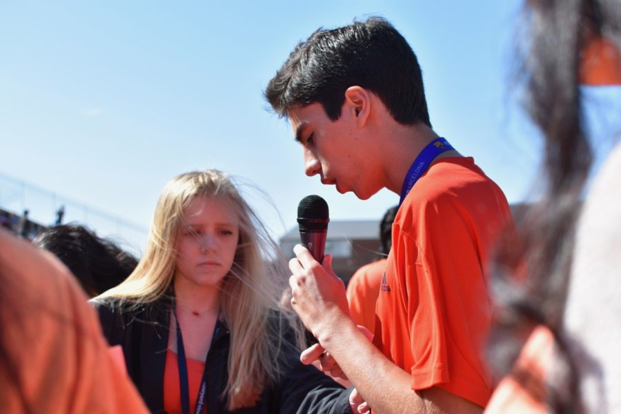 Current Coppell High School juniors Charlotte Vanyo and Nicolas Reyes speak out about gun violence during the school walkout on April 20, 2018 at Buddy Echols Field. One year later, Reyes remains frustrated in the lack of progress in gun reform laws and talks.
