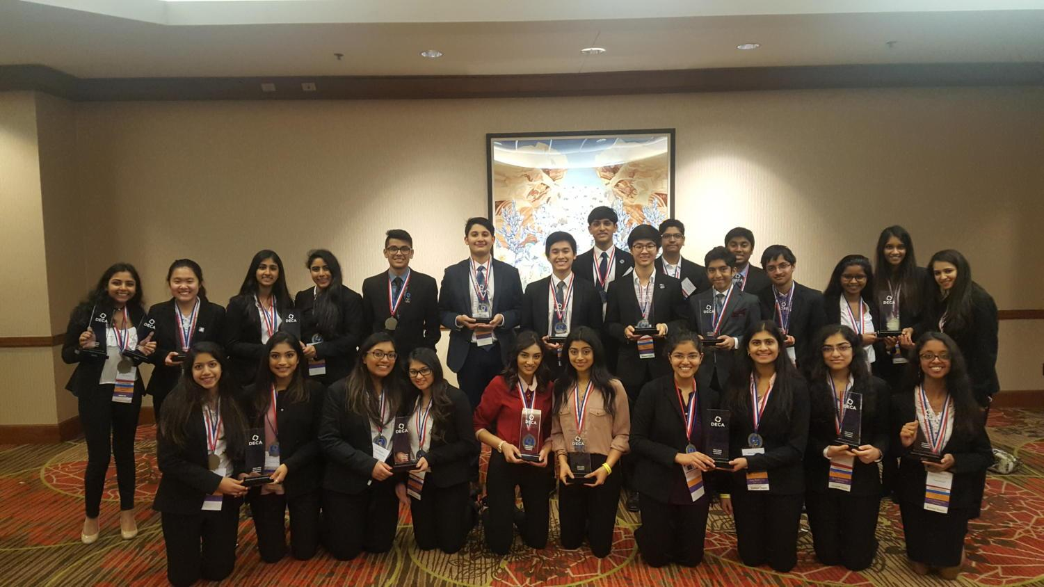 On April 22-25, the Coppell High School DECA chapter had a record number of 28 students advance to the annual International Career Development Conference (ICDC) at Mercedes-Benz Stadium in Atlanta. They brought back a top 10 finalist and 13 competitors with qualifying scores for finals.
