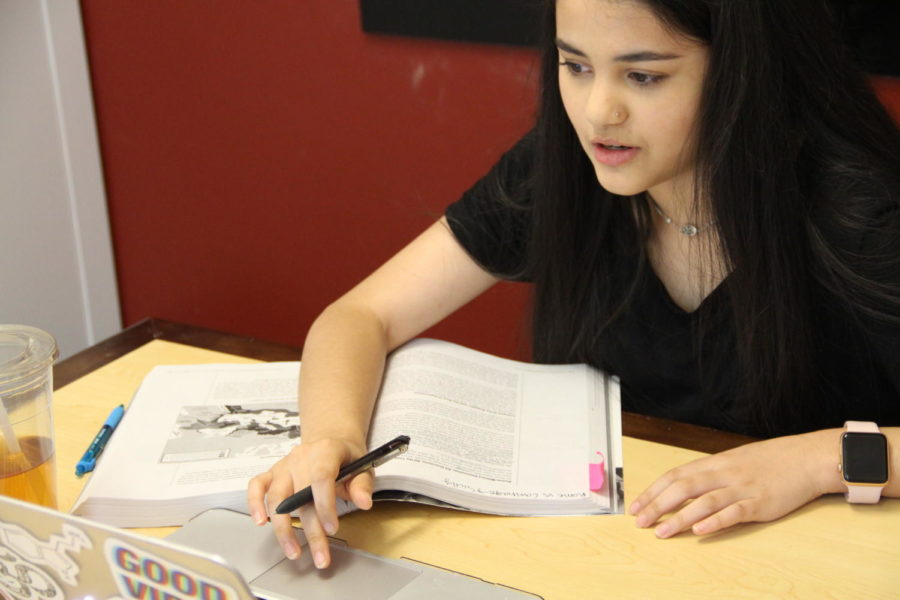 Coppell High School sophomore Ichha Lamichhane utilizes the Cozby Library to study for upcoming AP World History exams on May 17th. The William T. Cozby Library is a great spot for learners and people in the community to complete assignments and find educational resources.