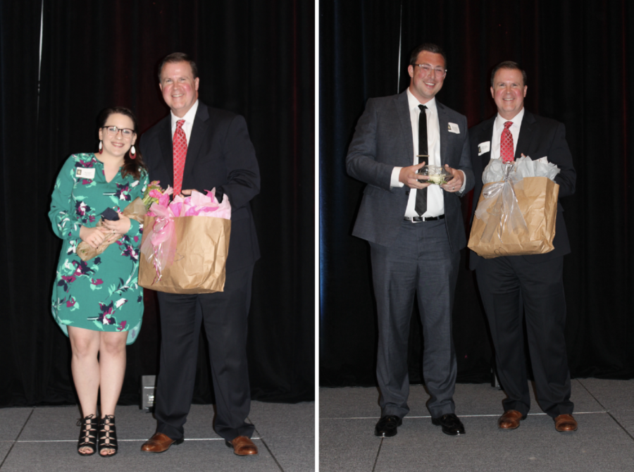 Mrs.+Mollick+of+Coppell+Middle+School+North++and+Mr.+Hanson+of+Wilson+Elementary+receive+awards+and+recognition+for+their+Teacher+of+the+Year+accomplishment+at+the+Coppell+ISD+Education+Foundation+Banquet+