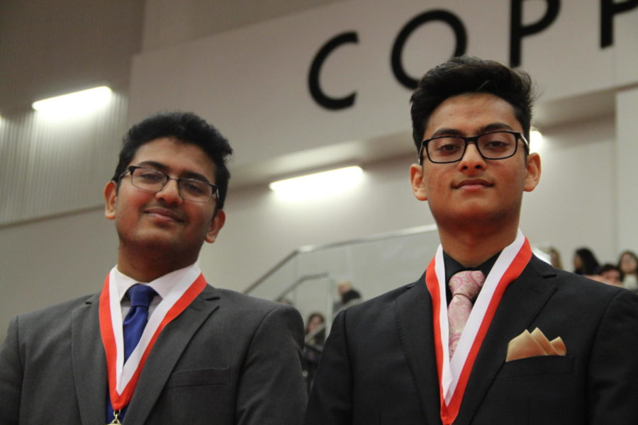Coppell High School seniors Pranjal Jain and Sanjev Kalyanaraman win the Honor Award. During second period on Wednesday, seniors were recognized for academic and athletic accomplishments and college scholarships at the Senior Awards in the arena.