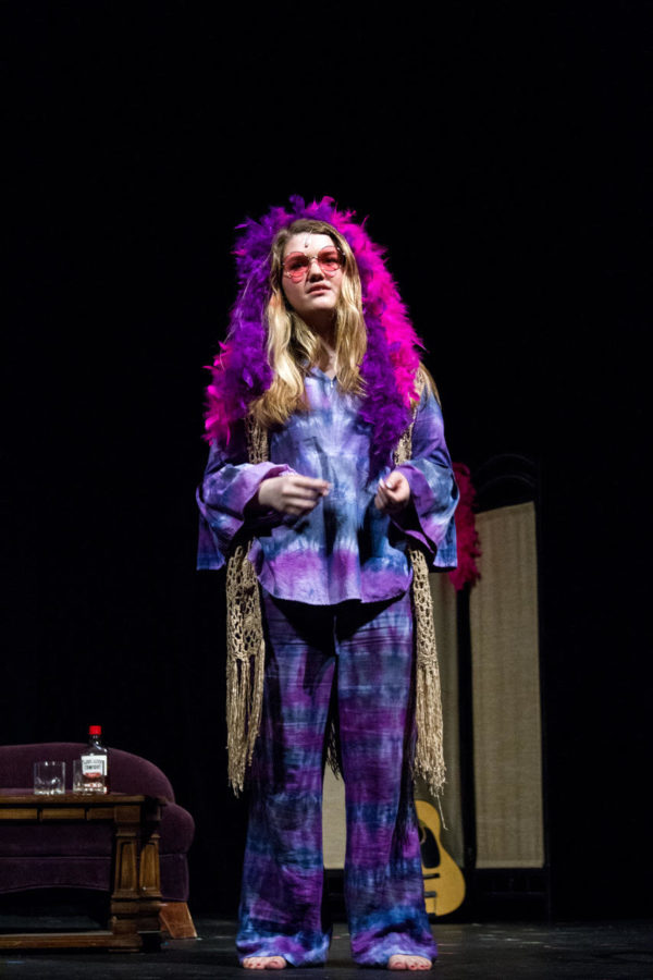 Coppell+High+School+senior+Maddie+Purser+portrays+singer+Janis+Joplin+at+the+CHS+Senior+Showcase+on+Saturday+Night.+Seniors+of+the+CHS+Studio+Premier+class+wrote%2C+directed+and+acted+their+original+one-man+shows.+%0A