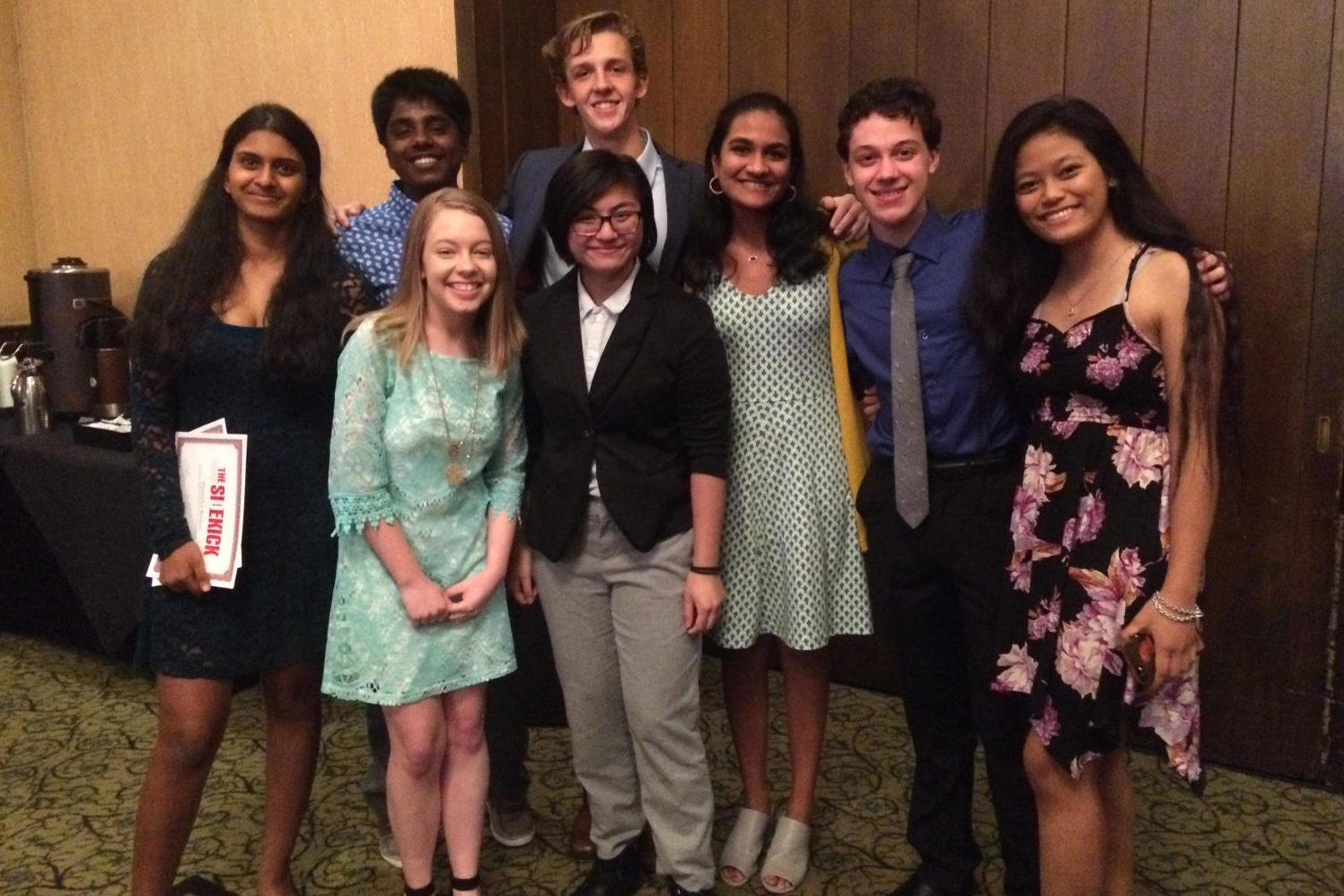 Sidekick staffers pose for a  picture at the annual Sidekick awards banquet. The Sidekick has been a big part of staff writer Pramika Kadari's life since she moved to Dallas at the beginning of the school year.