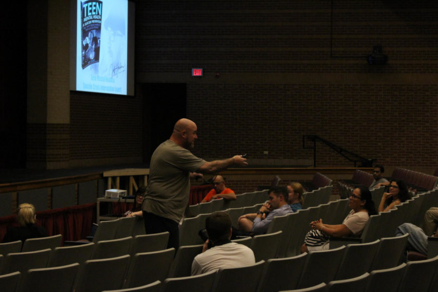 On Tuesday, Teen Mental Health and Suicide Crisis Intervention expert Jeff Yalden visits Coppell High School to talk to parents about suicide awareness. He keeps his audience entertained by asking questions throughout the night.