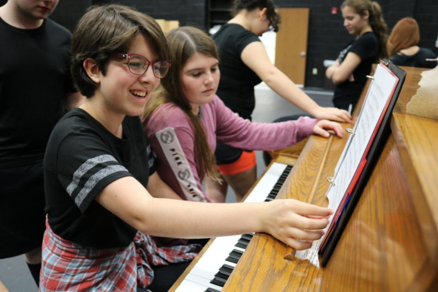 "Coppell High School sophomore Sydney de León goes through her music sheets in Karen Ruth's eighth period Musical Theatre class. Students go through a crash course through theatre history where they learn about ""The Golden Age"" of musical theater, which includes the show they are currently practicing ""Oklahoma!""."