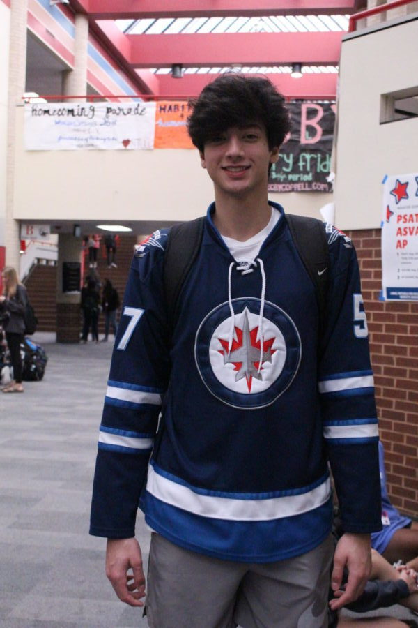 Coppell+High+School+junior+Jude+Hadi+wears+his+Winnipeg+Jets+hockey+jersey.+Student+Council+is+celebrating+homecoming+week+by+selecting+a+different+dress-up+theme+for+each+day+this+week.