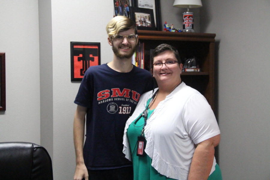 Coppell High School assistant principal Cindi Osborne with son Ryne Osborne, who has Crohn's disease, a rare illness that affects the digestive tract, in her office in Student Services South during eighth period on Sept. 12. A CHS team to participate in the Crohn's and Colitis Fort Worth Takes Steps walk has been organized by Instructional Coach Derryl Lee to raise money and awareness for the illness. The walk will be held on Sept. 29 in Trinity Park in Fort Worth.