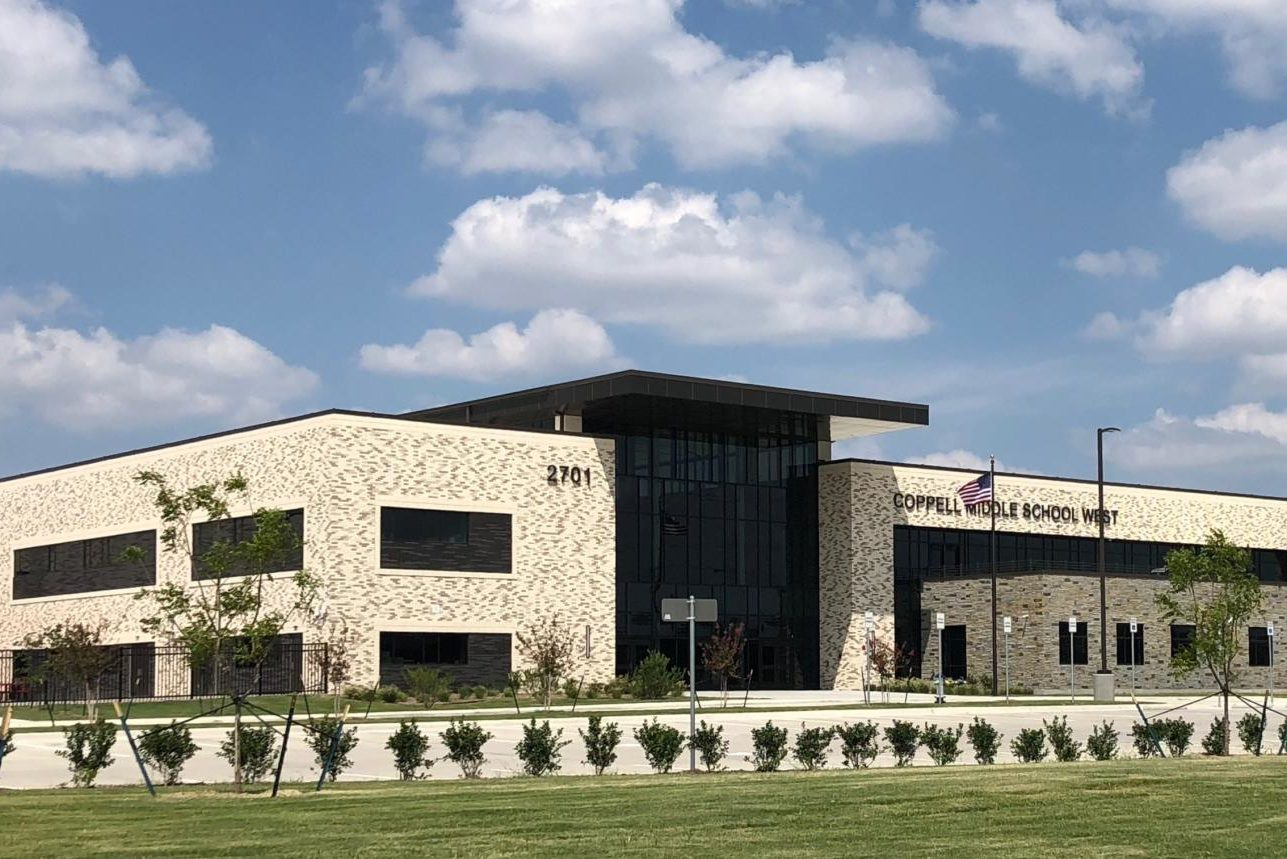The new CMS West just opened this year with a stunning modern design at the edge of the CISD school district.