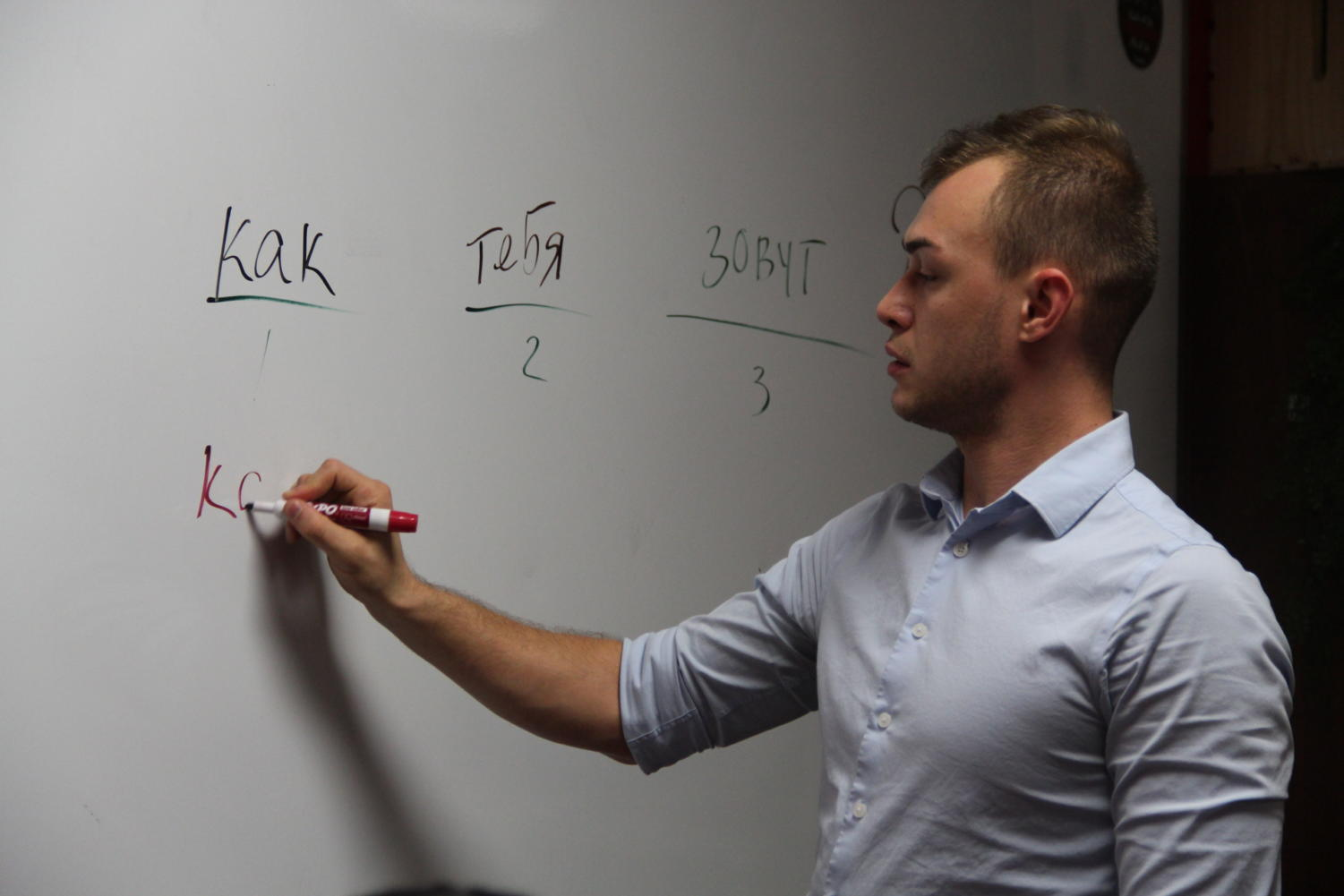 Coppell High School teacher Michael Egan teaches the members of Russian club the basics of the language after school. Egan is fluent in six languages, with Russian being his first language.