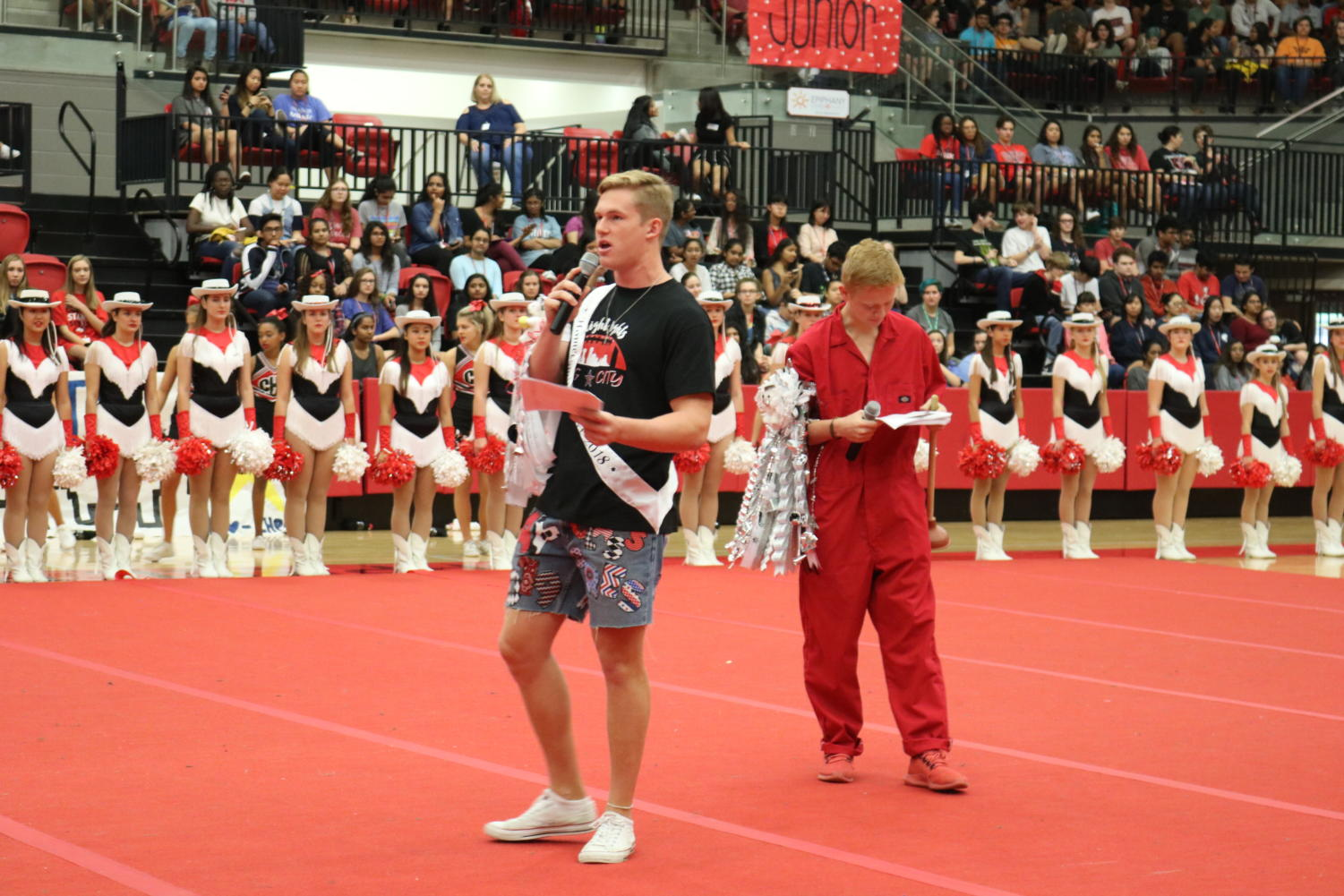 Coppell High School Senior Jay Dempsey hypes up the crowd at Friday morning's pep rally for the homecoming game and dance. While the homecoming game and dance are the most popular choices to celebrate homecoming, there are multiple ways to celebrate homecoming.